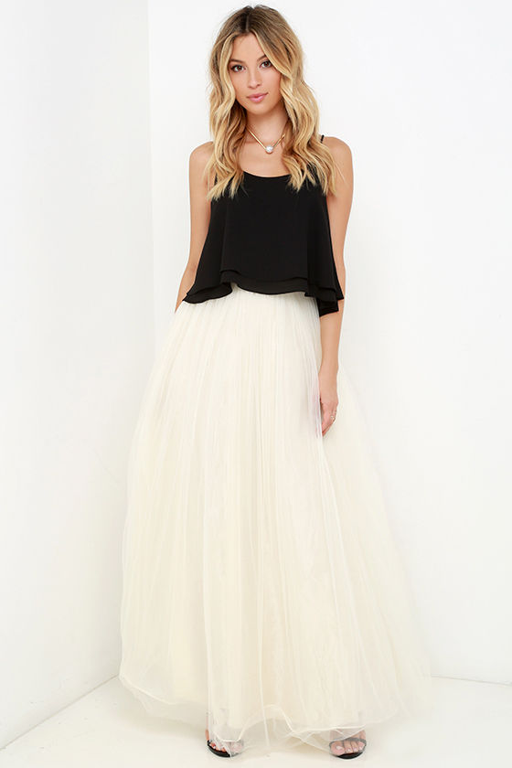 15f3c0ccd5c268 Tulle Skirt - Maxi Skirt - Cream Skirt - High-Waisted Skirt - $78.00