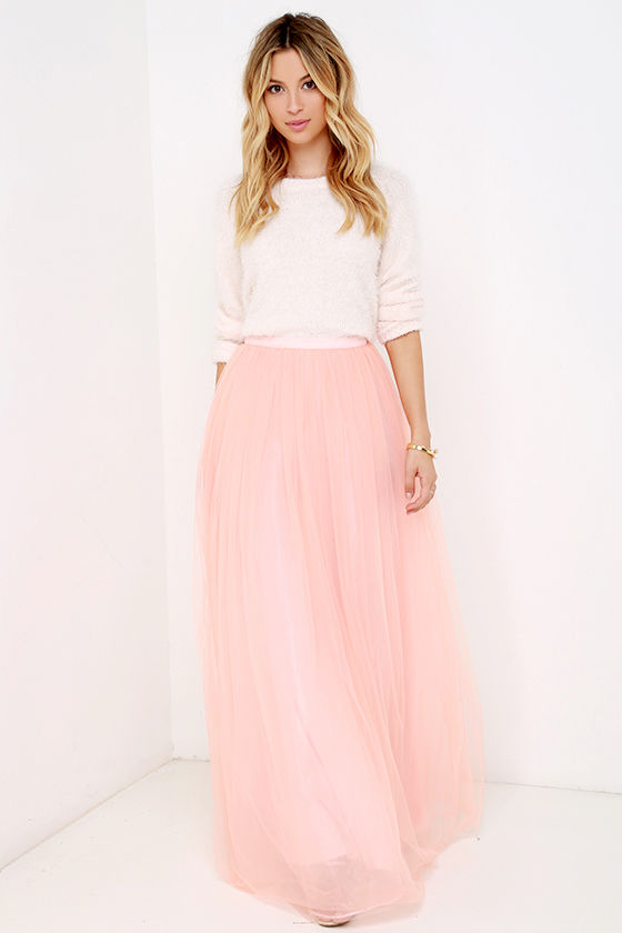Tulle Skirt - Maxi Skirt - Blush Skirt - High-Waisted Skirt - $78.00