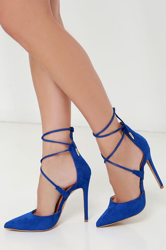 Cute Blue Heels - Lace-Up Heels - Caged Heels - $36.00