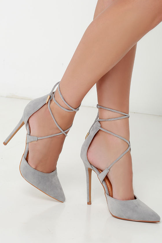 b2085b13e291 Cute Grey Suede High Heels - Lace-Up Heels - Caged Heels