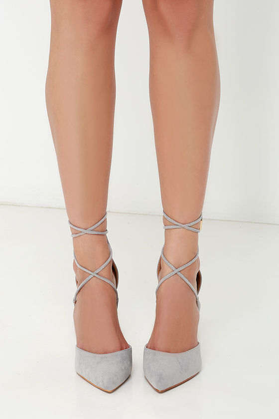 0b0f0dbd24c1 Cute Grey Suede High Heels - Lace-Up Heels - Caged Heels