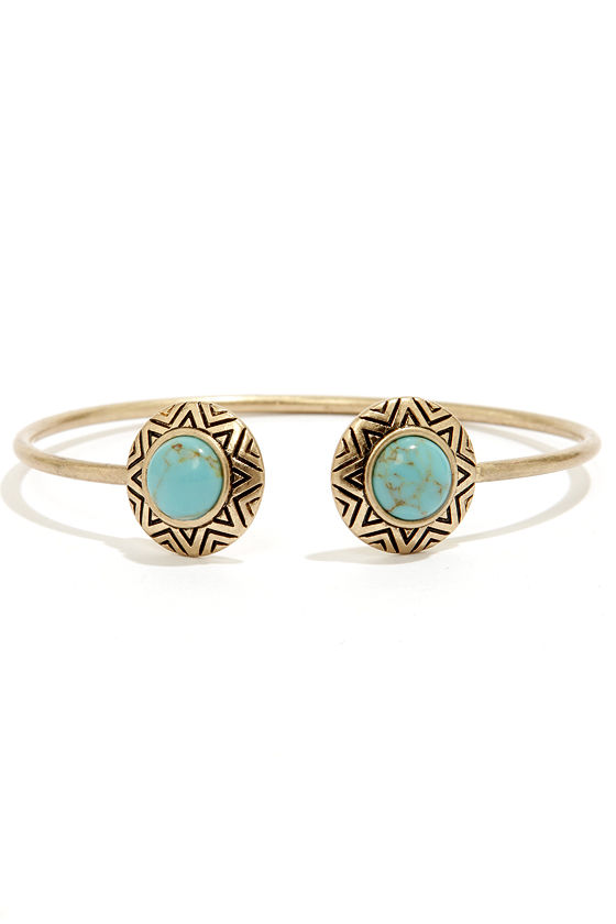 Ancient History Gold and Turquoise Bracelet at Lulus.com!