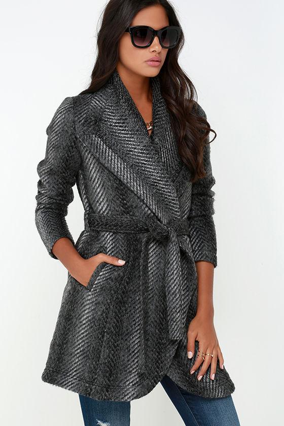 94b34f702047 BB Dakota Abra Coat - Dark Grey Coat - Belted Coat - $91.00