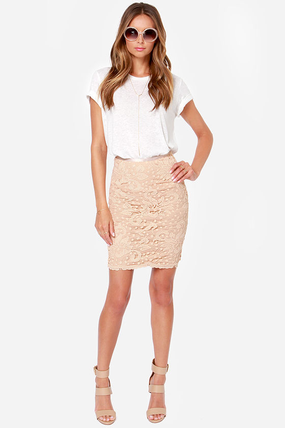 Cute Beige Skirt Lace Skirt Pencil Skirt 34 00