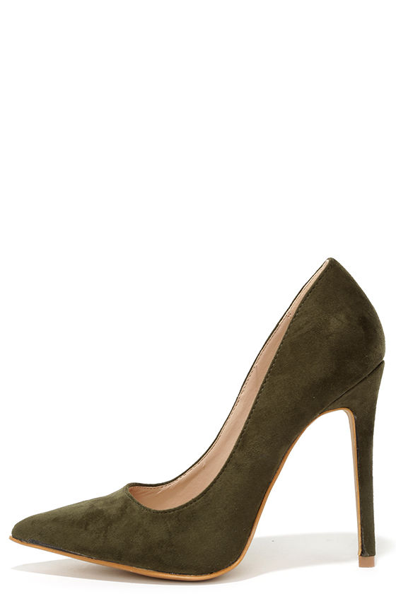 1754748526c Cute Olive Green Pumps - Suede Pumps - Pointed Pumps -  34.00