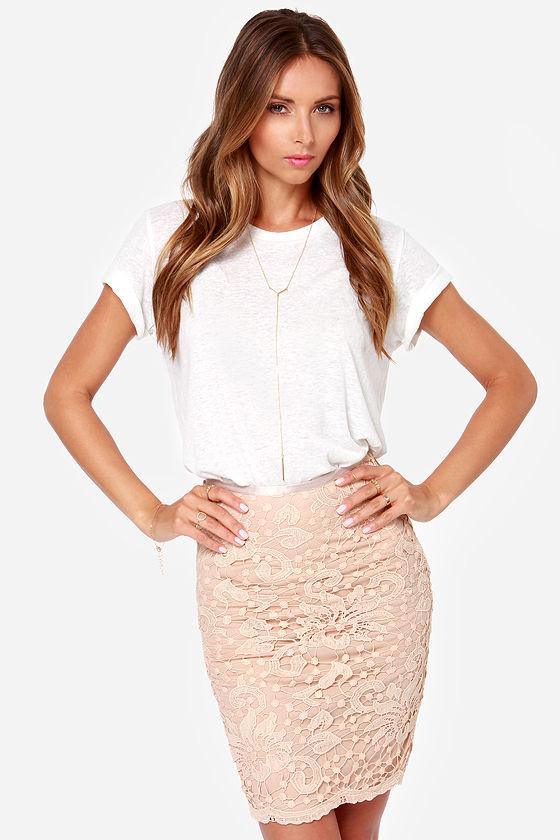 205c2edeb1d7 Cute Beige Skirt - Lace Skirt - Pencil Skirt -  34.00