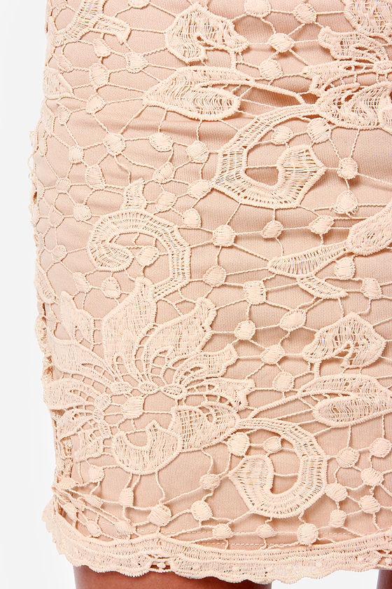 Midi Moons Beige Lace Pencil Skirt at Lulus.com!