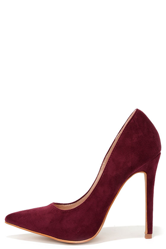 77e6a69b08b4 Cute Wine Red Pumps - Suede Pumps - Pointed Pumps -  34.00