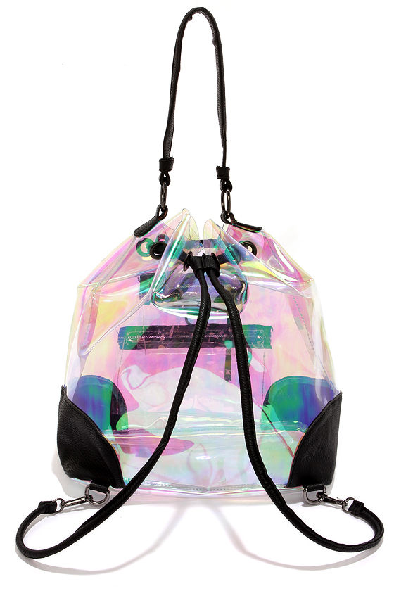 Cute Clear Backpack - Iridescent Backpack - Bucket Bag - $40.00