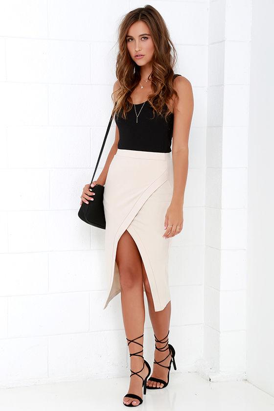 Chic Beige Skirt - Envelope Skirt - Midi Skirt - Bodycon Skirt ...