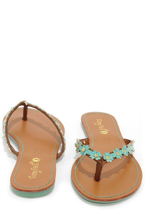 Intro 01 Mint Patent Flower Flip Flops at Lulus.com!