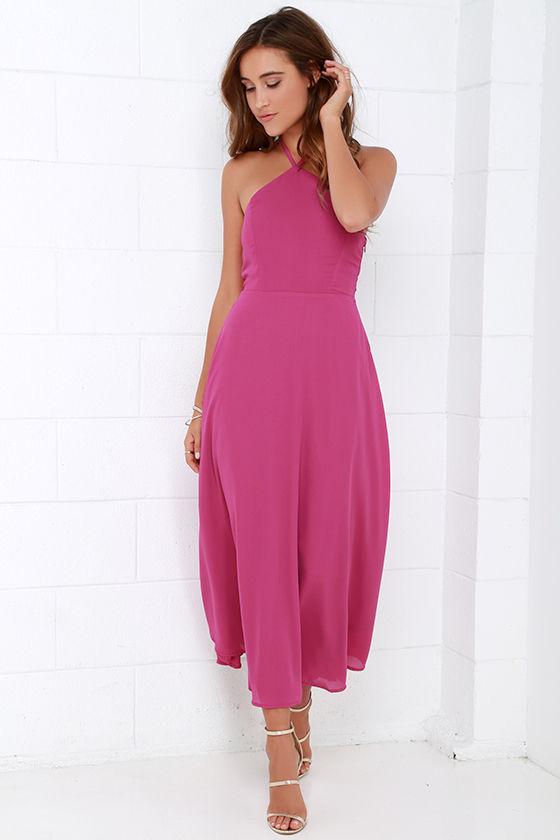 8f9c0172937f Magenta Dress - Midi Dress - Halter Dress - $49.00