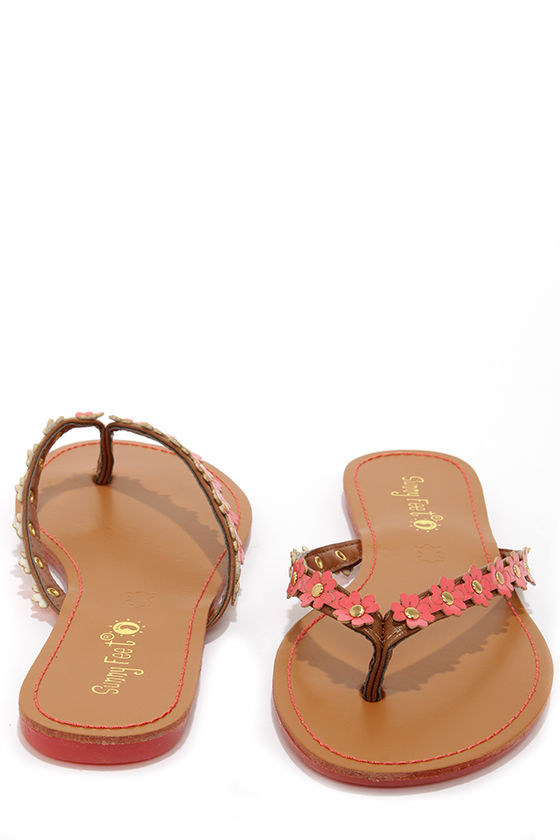 571f4a44d0a5 Cute Coral Flip Flops - Flower Flip Flops -  12.00
