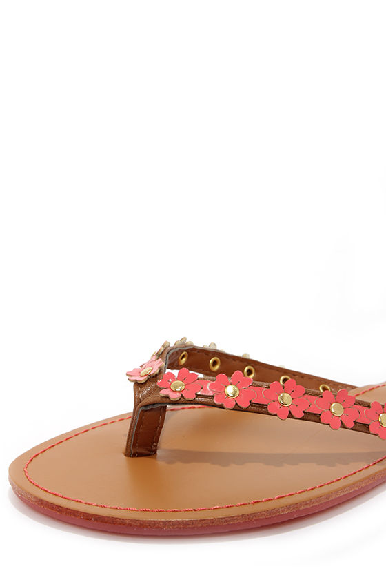 Intro 01 Coral Patent Flower Flip Flops at Lulus.com!