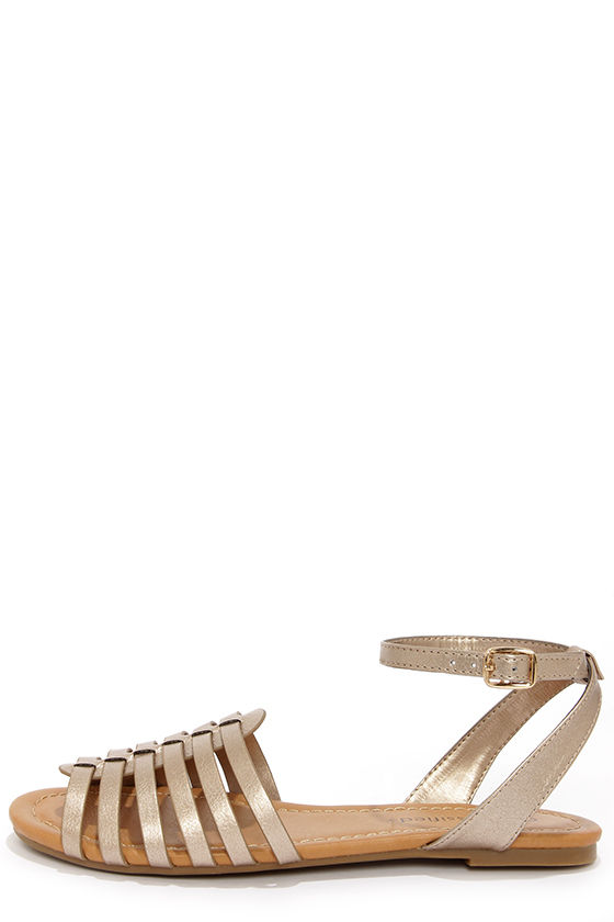6a5d5d765bc Cute Bronze Sandals - Vegan Sandals - Strappy Sandals -  18.00