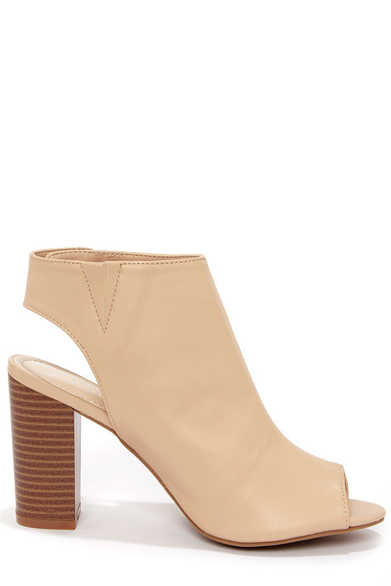Bamboo Kenedy 02 Nude Peep Toe Booties at Lulus.com!
