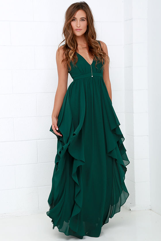 Beautiful Dark Green Maxi Dress Prom Bridesmaid