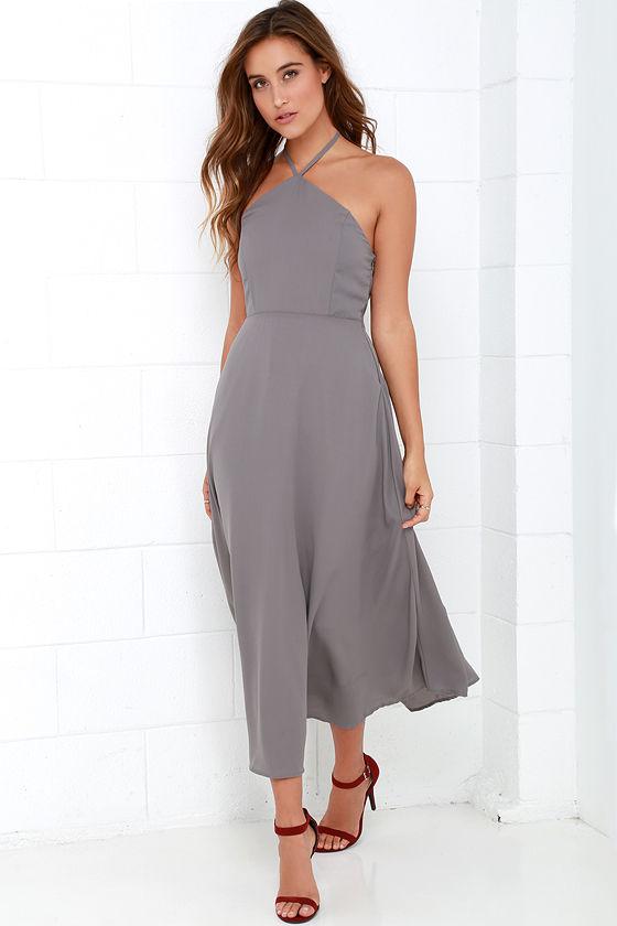 Grey Dress - Midi Dress - Halter Dress - $49.00