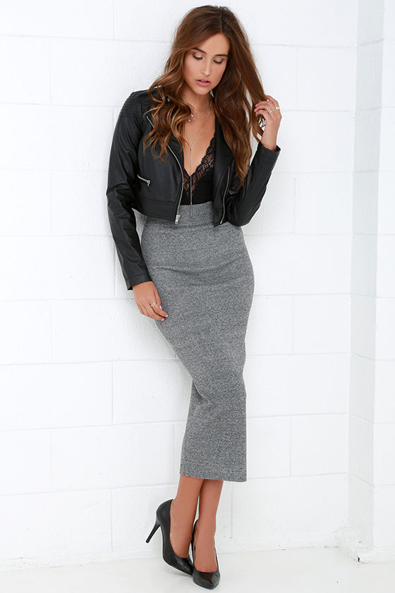 Chic Grey Skirt - Midi Skirt - Knit Skirt - Bodycon Skirt - $44.00
