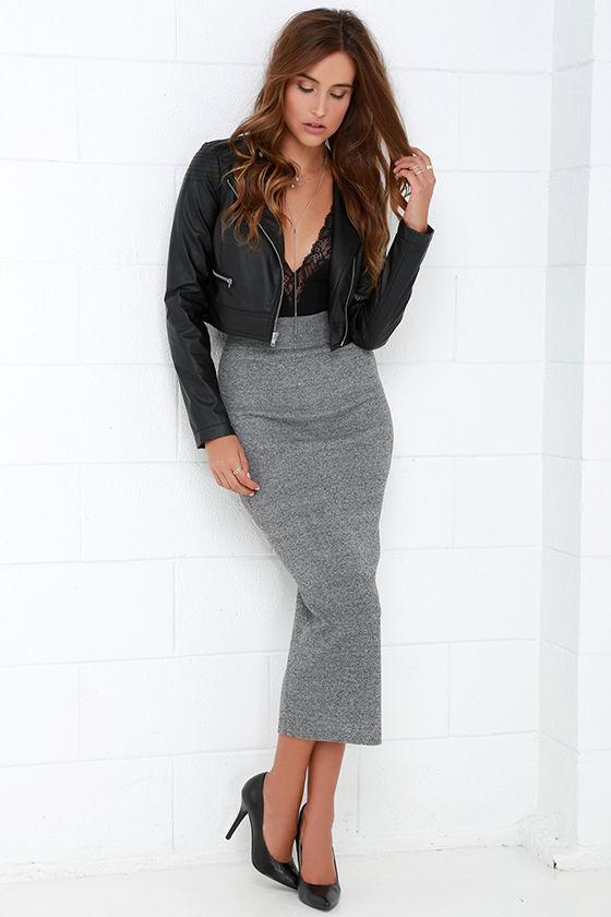 Chic Grey Skirt - Midi Skirt - Knit Skirt - Bodycon Skirt - $44.00