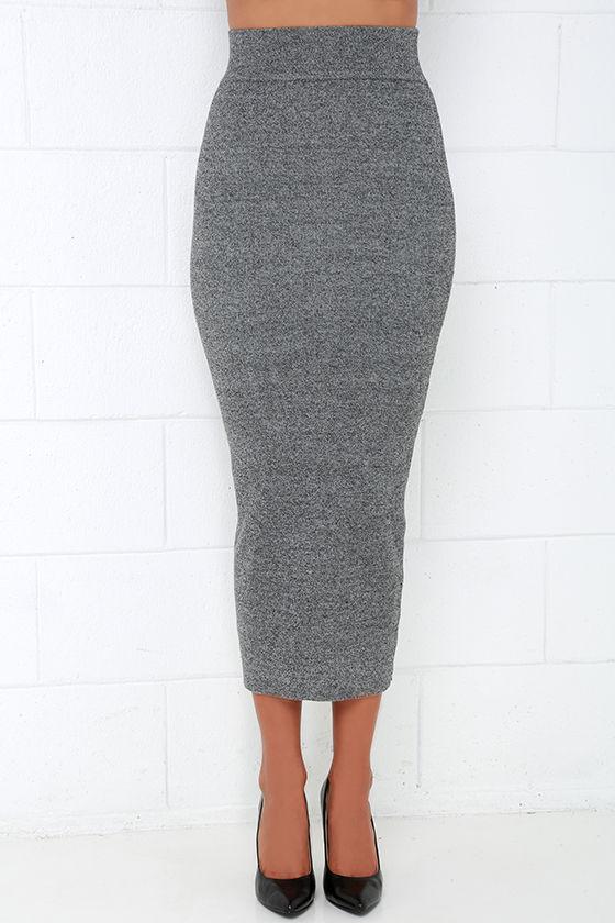 chic grey skirt midi skirt knit skirt bodycon skirt