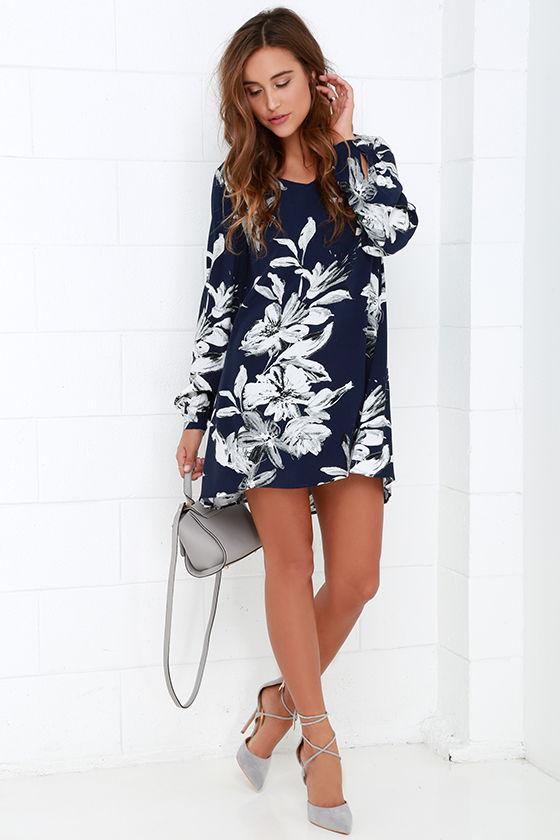 Cute Navy Blue Dress - Floral Print