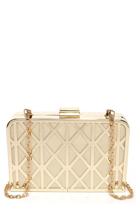 Trellis Lover Cream and Gold Clutch at Lulus.com!
