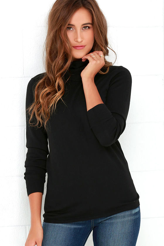 Chic Black Sweater - Turtleneck Sweater - Long Sleeve Sweater - $44.00