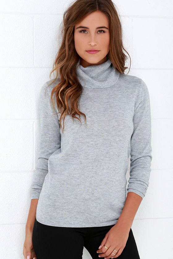 Chic Grey Sweater - Turtleneck Sweater - Long Sleeve Sweater - $41.00