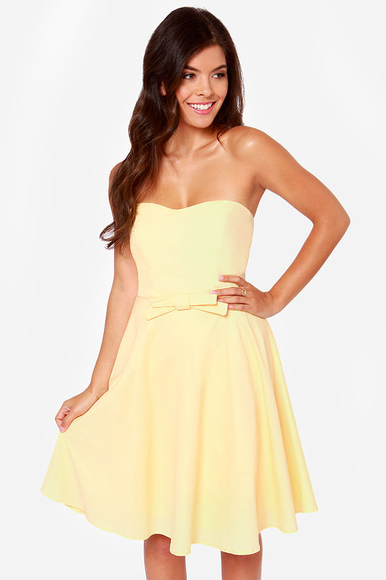 Cute Strapless Dress - Yellow Dress - $40