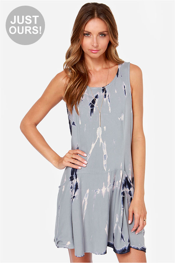 LULUS Exclusive Free For All Grey Tie-Dye Dress