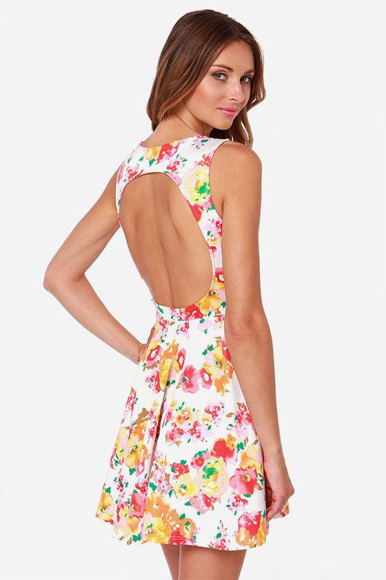 Cute Floral Print Dress - Skater Dress - Backless Dress -  40.00 d840668e3