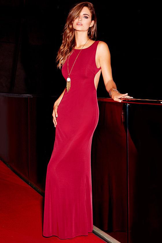 db46b651ae Lovely Wine Red Dress - Backless Dress - Maxi Dress -  86.00
