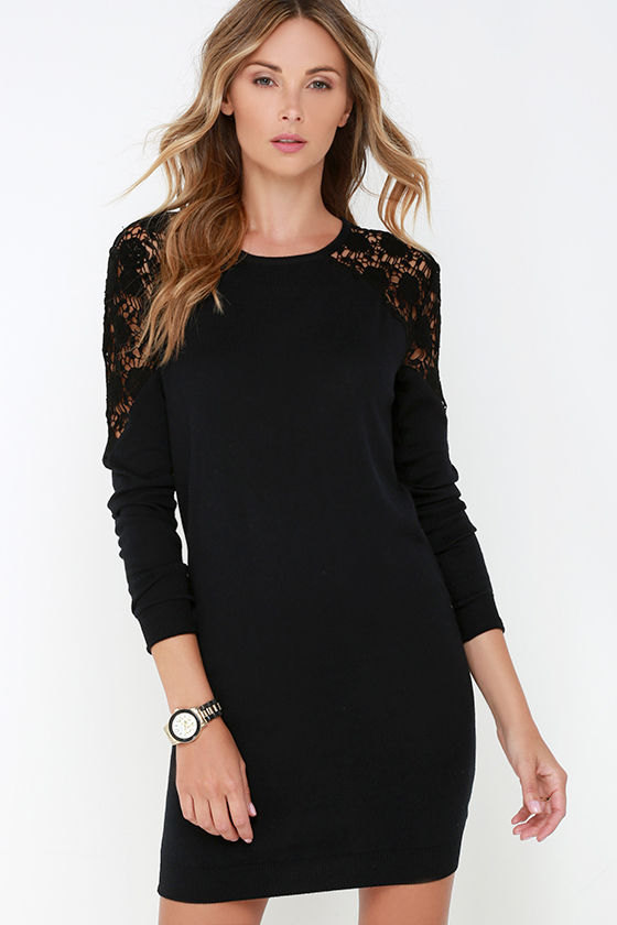 Black Swan Kira Sweater Dress - Black Lace Dress - Long Sleeve ...