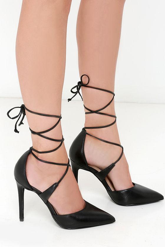 dd01f41c7ae7 Steve Madden Raela Black Leather Pointed Lace-Up Heels at Lulus!