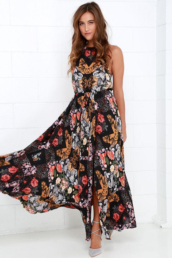 Beautiful Black Maxi Dress - Floral Print Maxi Dress - Maxi Dress ...