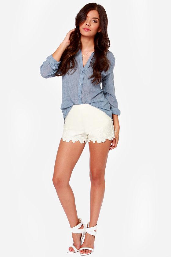 JOA Better Weather Ivory Vegan Leather Shorts at Lulus.com!