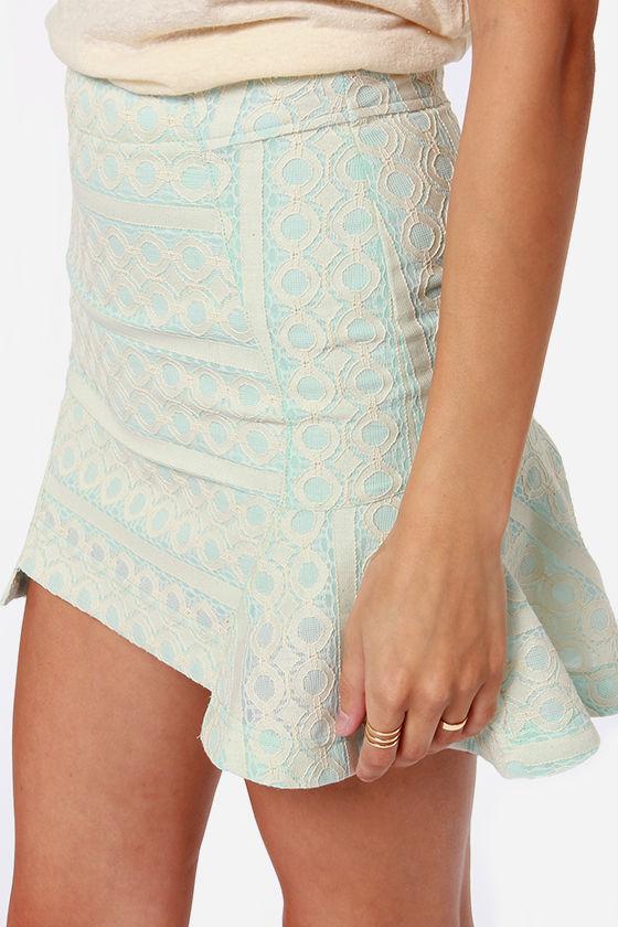 JOA I'm so Fancy Light Blue Lace Skirt at Lulus.com!