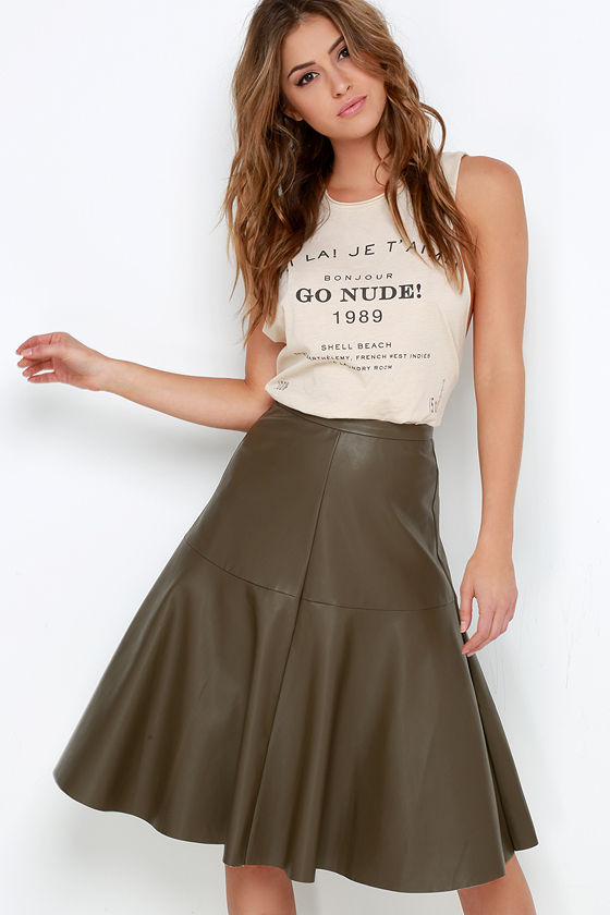 Olive Green Skirt - Vegan Leather Skirt - Midi Skirt - $67.00