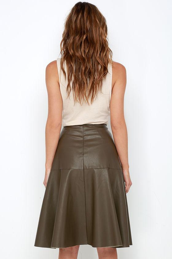 olive green skirt vegan leather skirt midi skirt 67 00