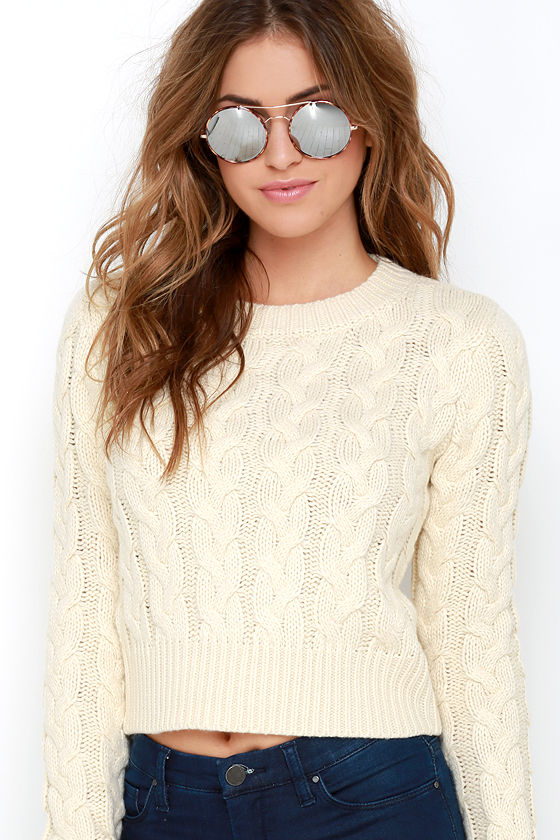 JOA Gentle Slope Cream Cropped Cable Knit Sweater