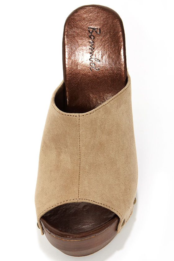 Nancee 1 Beige Suede Platform Clogs at Lulus.com!