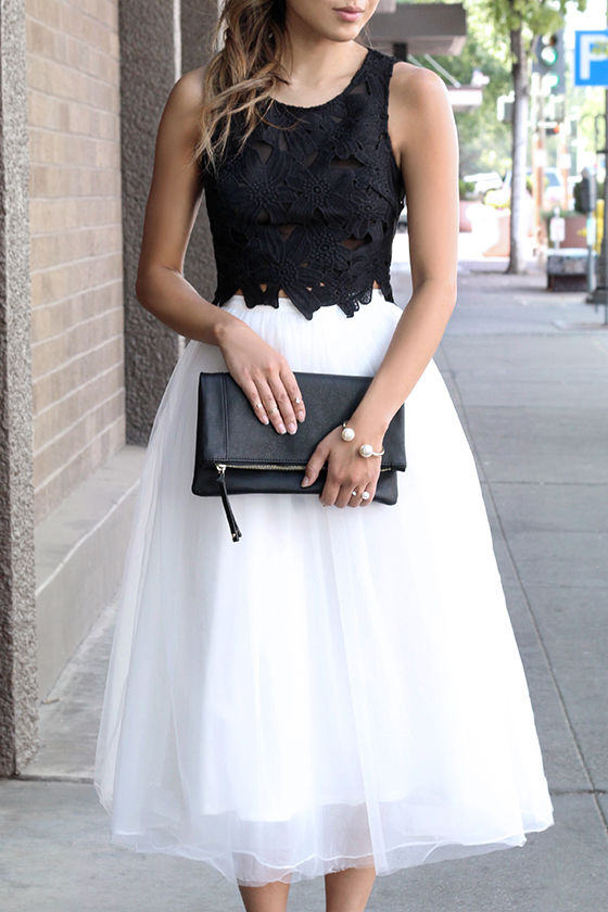 Tulle Skirt - Ivory Skirt - High-Waisted Skirt - $78.00