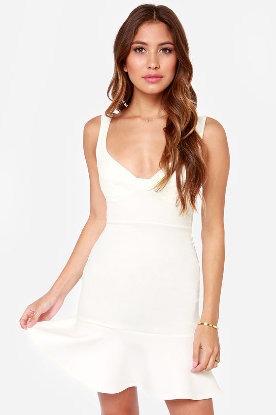 Cute Ivory Dress - White Dress - Cocktail Dress - $38.00