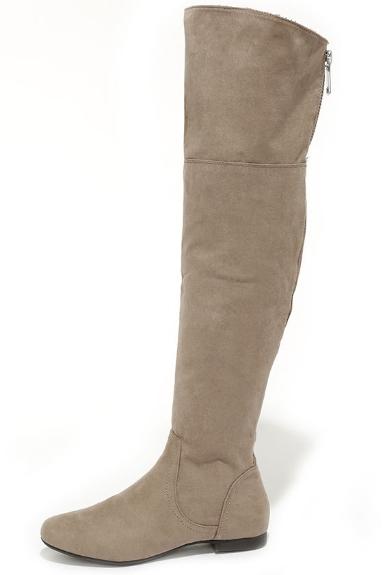 Cute Taupe Boots Over The Knee Boots Flat Boots 41 00