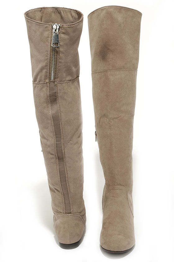 c77970b7cb Cute Taupe Boots - Over the Knee Boots - Flat Boots - $41.00