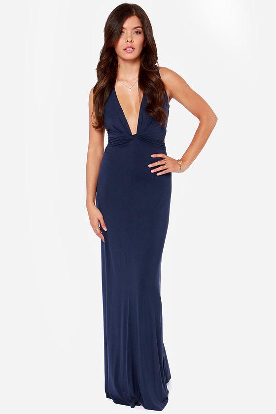 Knot A Bad Thing Navy Blue Maxi Dress