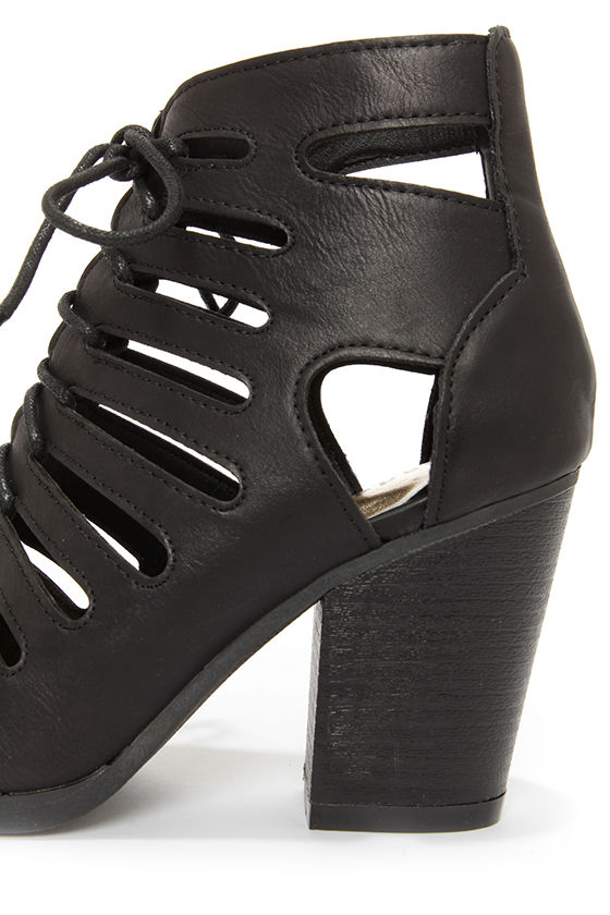 Madden Girl Vital Black Cutout Peep Toe Booties at Lulus.com!