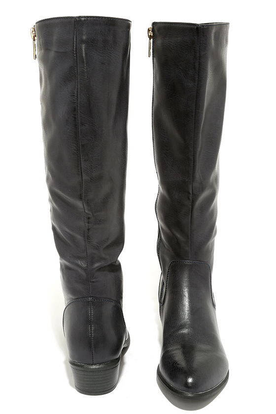 6b667bc20fe Cute Navy Boots - Knee-High Boots - Flat Boots - Riding Boots -  35.00