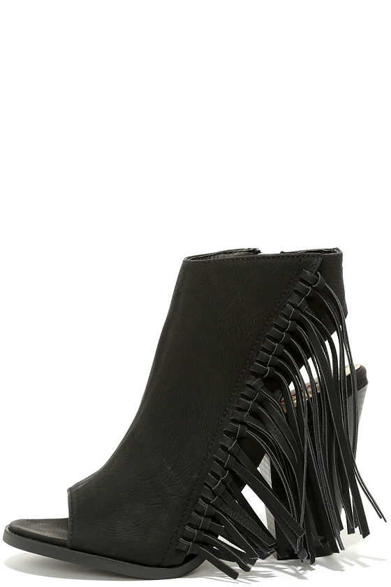 Cute Black Booties - Peep-Toe Booties - Fringe Booties - $49.00